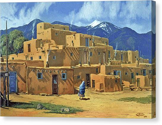 Taos Canvas Print - Taos Pueblo by Randy Follis