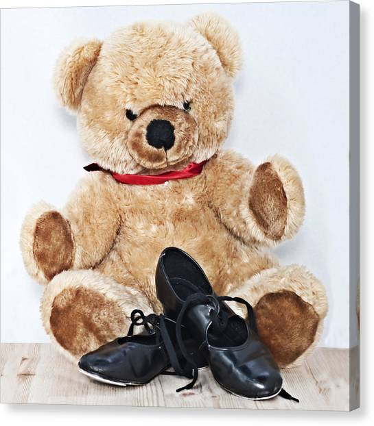 Tap Dance Canvas Print - Tap Dance Shoes And Teddy Bear Dance Academy Mascot by Pedro Cardona Llambias