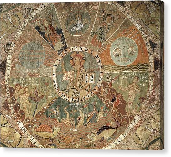 Fabric Of Society Canvas Print - Tapestry Of Creation. 1st Half 12th C by Everett