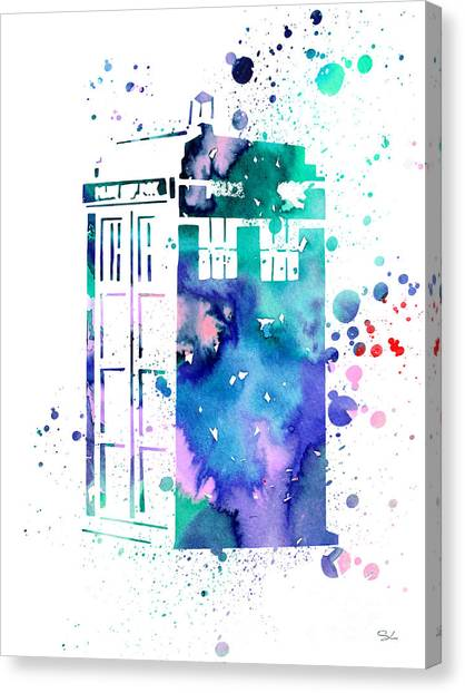 Doctor Who Canvas Print - Tardis by Watercolor Girl