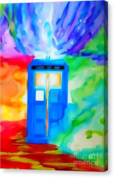 Pen And Ink Drawing Canvas Print - Tardis Watercolor Edition by Justin Moore