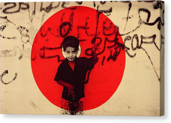 Israeli Canvas Print - Target, 1992 Screen Print On Canvas by Laila Shawa