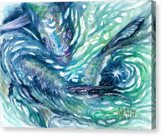 Tarpon Frenzy Canvas Print