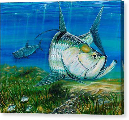 Tarpon On The Flats Canvas Print