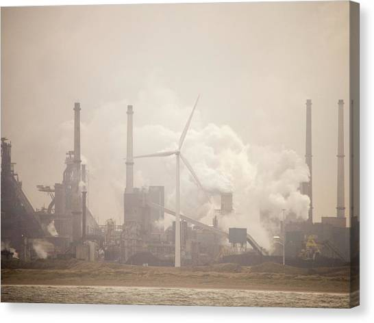 Climate Change Canvas Print - Tata Steel Works by Ashley Cooper