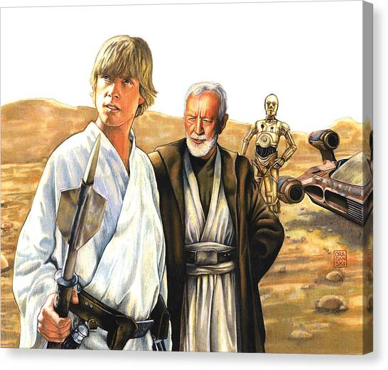 Obi-wan Kenobi Canvas Print - Tatooine Massacre by Edward Draganski