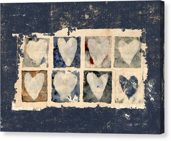 Torn Paper Collage Canvas Print - Tattered Hearts by Carol Leigh