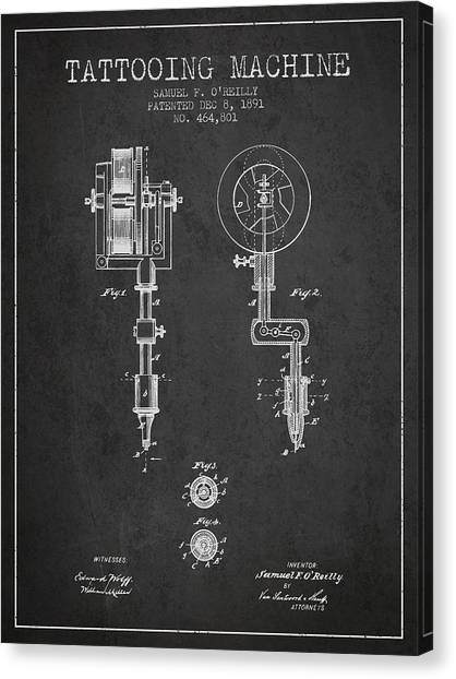 Pen Canvas Print - Tattooing Machine Patent From 1891 - Charcoal by Aged Pixel