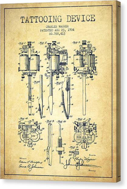Pen Canvas Print - Tattooing Machine Patent From 1904 - Vintage by Aged Pixel