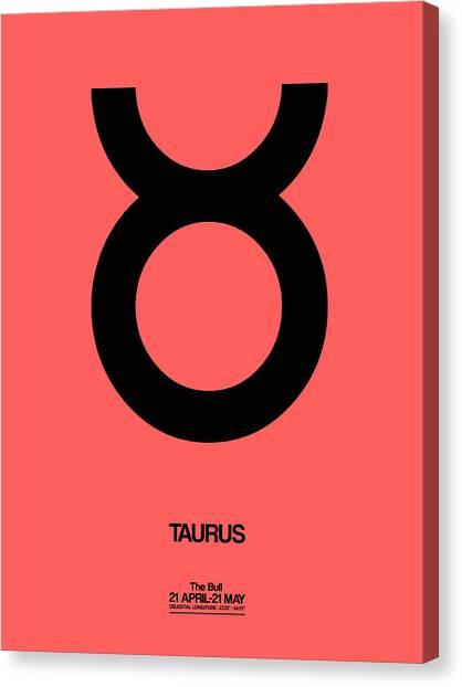 Signs Canvas Print - Taurus Zodiac Sign Black  by Naxart Studio
