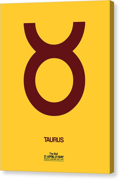 Signs Canvas Print - Taurus Zodiac Sign Brown by Naxart Studio