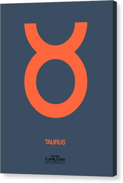 Signs Canvas Print - Taurus Zodiac Sign Orange by Naxart Studio