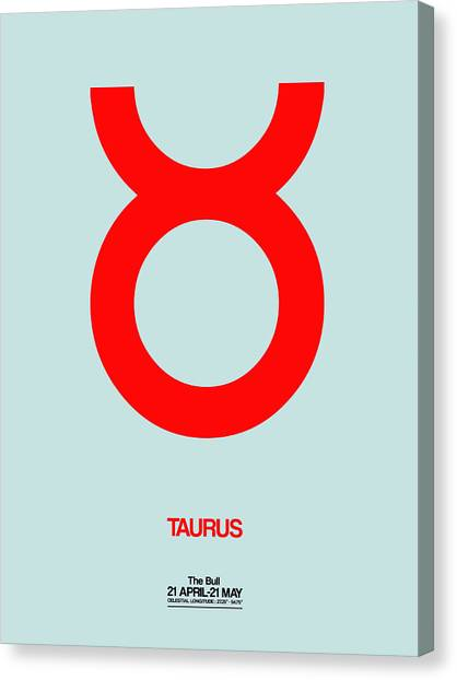Canvas Print - Taurus Zodiac Sign Red by Naxart Studio