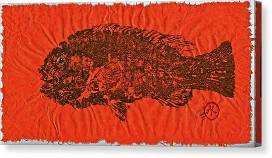Tautog On Sienna Thai Unyru / Mulberry Paper Canvas Print