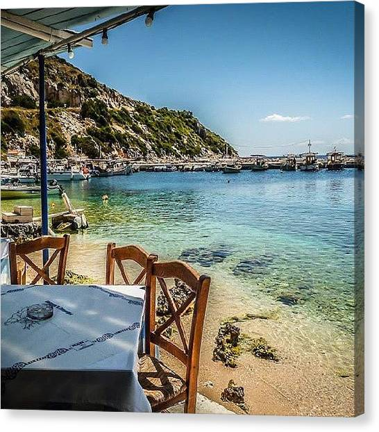 Ford Canvas Print - Taverna By The Sea In #zakynthos by Alistair Ford
