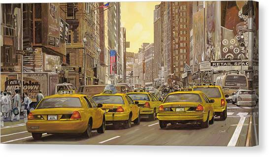 Central Park Canvas Print - taxi a New York by Guido Borelli