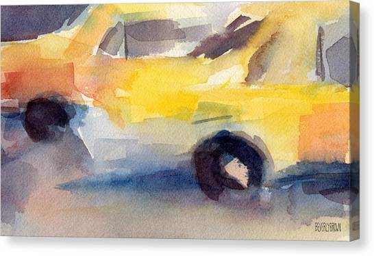 New York City Taxi Canvas Print - Taxi Cabs Nyc Watercolor Painting by Beverly Brown