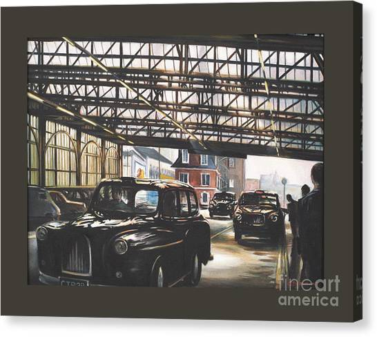 Taxi-waterloo. Canvas Print by Caroline Beaumont