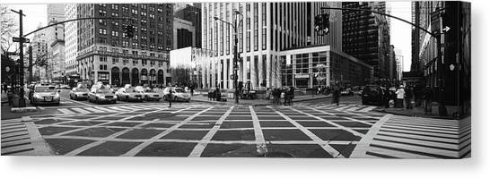 Stoplights Canvas Print - Taxies On The Road Waiting For Light by Panoramic Images