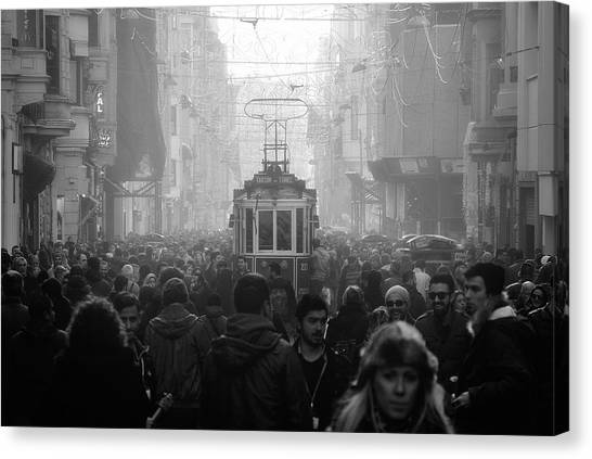 Crowd Canvas Print - Taxim Street by Dr. Akira Takaue