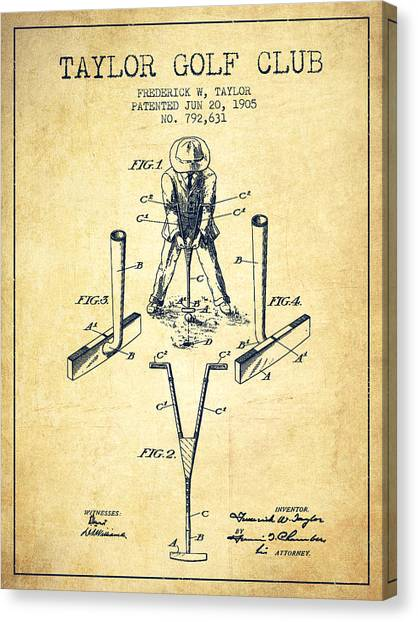 Pga Canvas Print - Taylor Golf Club Patent Drawing From 1905 - Vintage by Aged Pixel