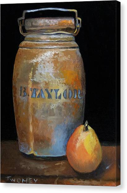Taylor Jug With Pear Canvas Print