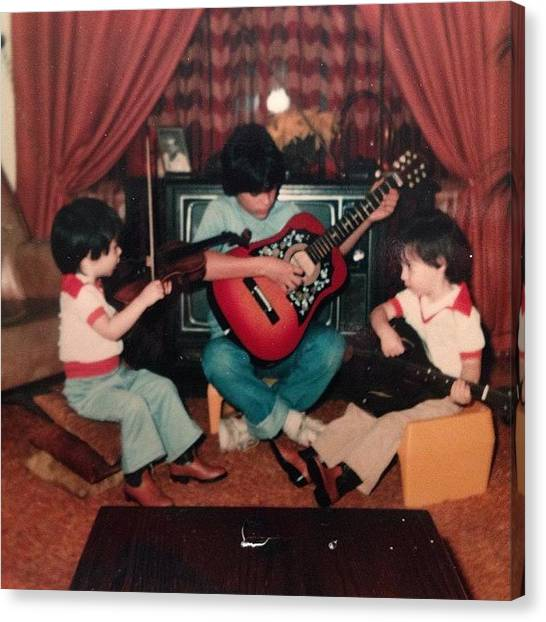 Mandolins Canvas Print - #tbt Me My Twin Daniel And Brother by Patrick Brazell