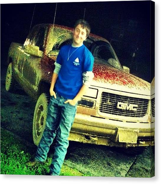 Dodge Canvas Print - #tbt #throwbackthursday #mudding #old by Jd Long