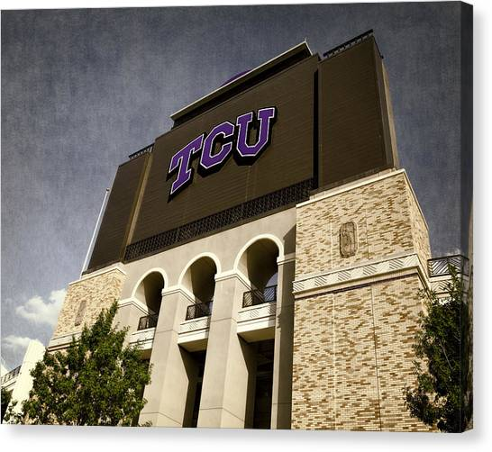 Texas Christian University Canvas Print - Tcu Stadium Entrance by Joan Carroll