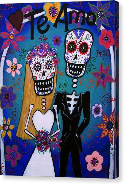 Te Amo Wedding Dia De Los Muertos Canvas Print