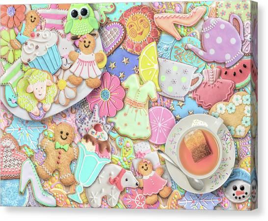 Sweet Tea Canvas Print - Tea And Cookies Pastel by Aimee Stewart
