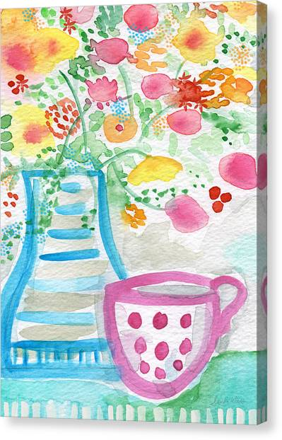 Tea Set Canvas Print - Tea And Fresh Flowers- Whimsical Floral Painting by Linda Woods