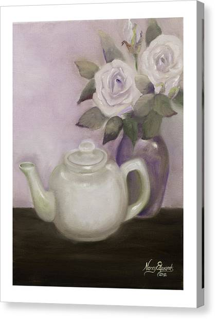 Tea And Roses Canvas Print by Nancy Edwards