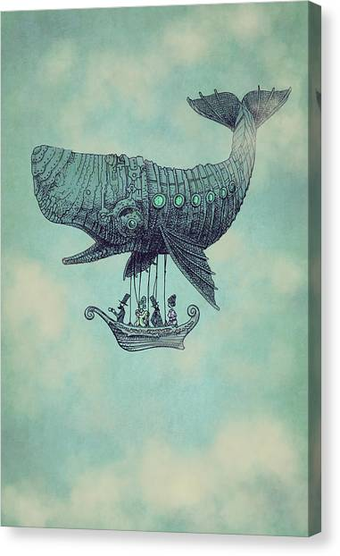 Whales Canvas Print - Tea At Two Thousand Feet by Eric Fan