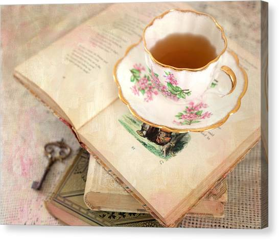 Tea Canvas Print - Tea Cup And Vintage Books by June Marie Sobrito