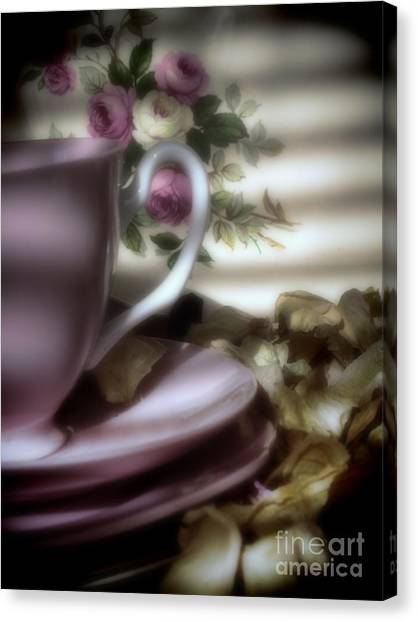 Tea Cups And Roses Canvas Print