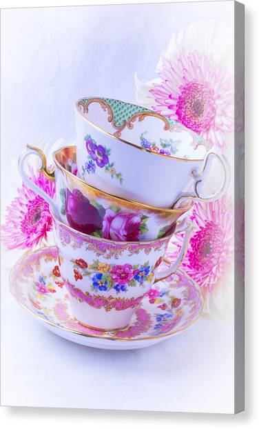 Saucer Canvas Print - Tea Cups With Pink Mums by Garry Gay