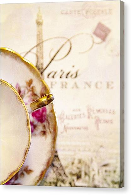Tea In Paris Canvas Print by Rebecca Cozart