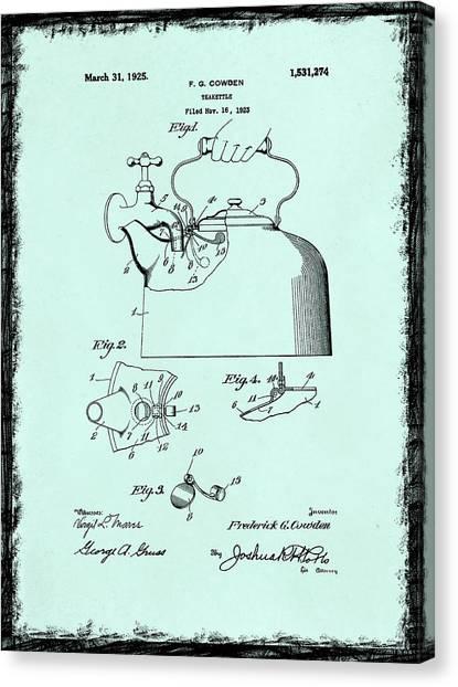 Tea Pot Canvas Print - Tea Kettle Patent 1923 by Mark Rogan
