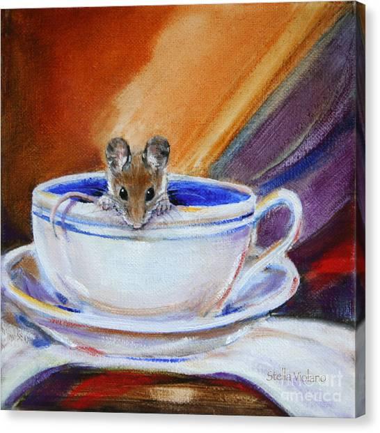 Tea Mouse Canvas Print by Stella Violano