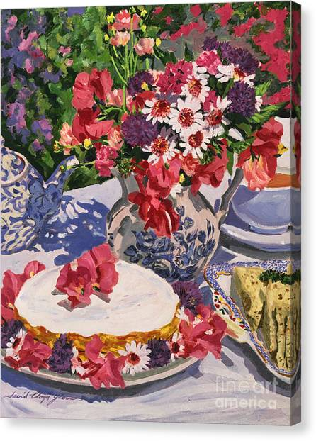 Tea Pot Canvas Print - Tea Party by David Lloyd Glover