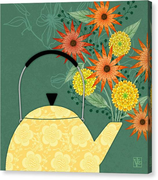 Tea Leaves Canvas Print - Tea Pot Glory by Valerie Drake Lesiak