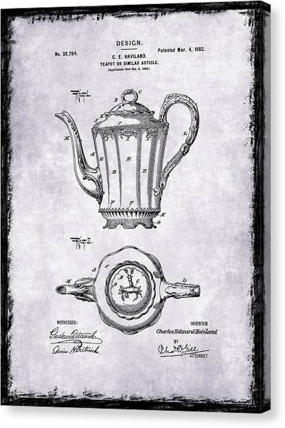 Coffee Plant Canvas Print - Tea Pot Patent 1902 by Mark Rogan