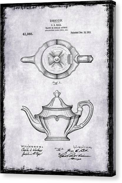 Coffee Plant Canvas Print - Tea Pot Patent 1911 by Mark Rogan
