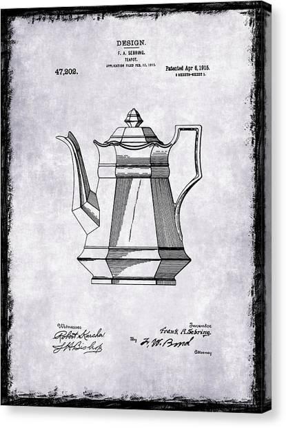 Tea Pot Canvas Print - Tea Pot Patent 1915 by Mark Rogan