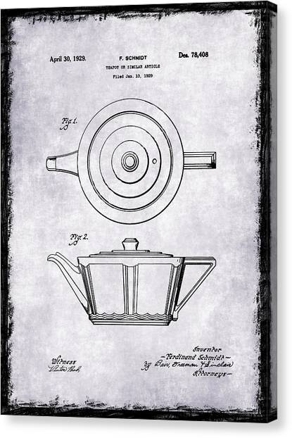 Coffee Plant Canvas Print - Tea Pot Patent 1929 by Mark Rogan