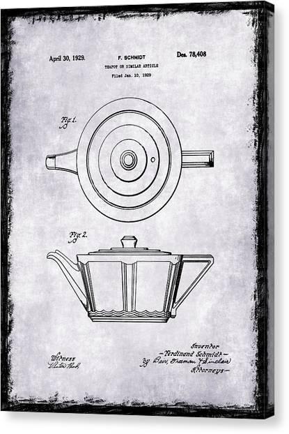 Tea Pot Canvas Print - Tea Pot Patent 1929 by Mark Rogan