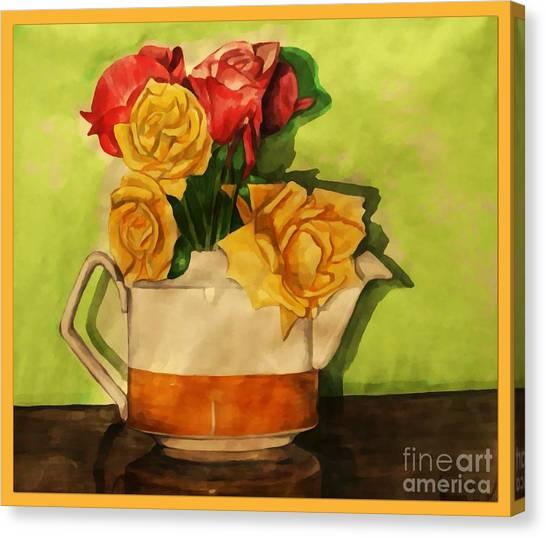 Tea Roses Bordered Canvas Print