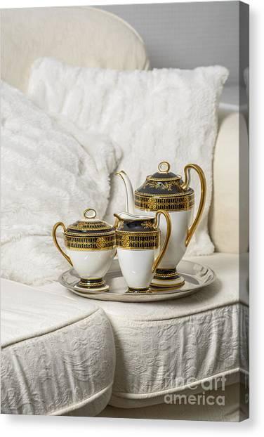 Tea Set Canvas Print - Tea Set by Amanda Elwell