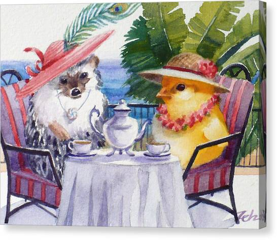 Tea Time For A Baby Chick And Hedgehog Canvas Print